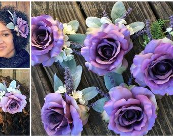 Lavender Rose with lamb's ear hair flower, lavender blossoms, Lavender hair clip, Lavender wedding, lavender rose hair clip