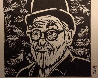 Disc Man (Terry Pratchett) Linocut Print
