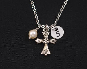cross necklace, sterling silver filled, initial necklace, silver cross pendant, Swarovski pearl, catholic gift, communion gift, christian