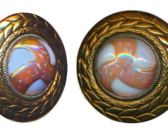 Button--ONE Large Enameled Opalescent Glass Jewel in Brass