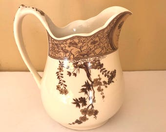 Vintage- Brown and White I Godinger Transferware Pitcher- Floral Pattern