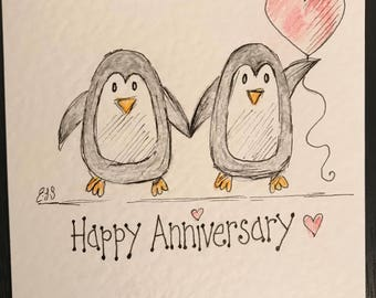 Hand drawn. Handmade penguin anniversary card. Can be personalised