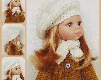 Doll clothes, beret, hat, scarf, Paola Reina, Minouche doll, Corolle Les Cheries, Little Darling doll, hearts4hearts doll, Kathe Kruse dolls