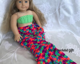 Doll Costume, Mermaid Princess Costume, Handmade Crochet Doll Clothes, Neon and Green Mermaid Costume for 18 inch Doll, Doll Mermaid Tail