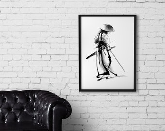 Japanese Warrior Print, Samurai Poster, Ink Painting, Sumi-e Malerei, Katana Home Decor