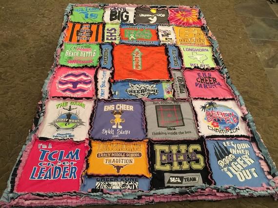 Custom, Handmade, Ragged T-Shirt Quilt, Blanket, Memory Blanket