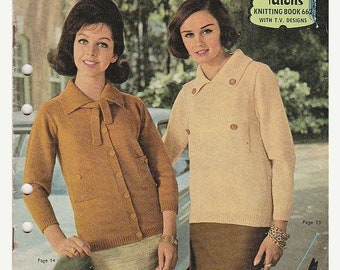 ON SALE On Sale - Paton's Knitting Pattern  in Bluebell and Nylette (Vintage 1960s) No 662, Jumpers, Sweaters, Cardigans, Jackets