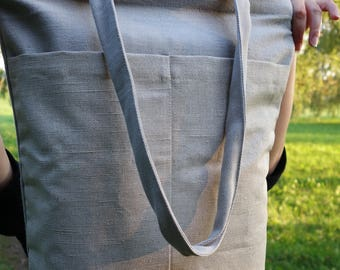 Linen shopping bag, shopper bag, natural linen shopping bag, linen shoulder bag, tote bag with pockets, organic linen bag, linen tote bag