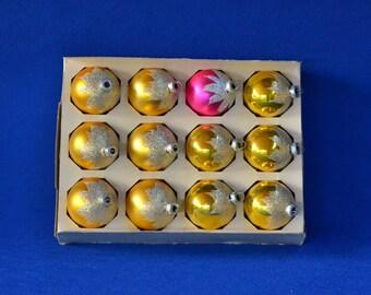 Vintage Shiny Brite Flocked Christmas Mercury Glass Ball Tree Ornaments - Set of 12