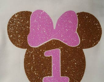 Gold and  Pink Minnie Mouse Birthday Onesie or Tshirt  Personalized - Smash Cake Photo shoot 1st , 2nd ,3rd Birthday - Party Glitter Sparkle
