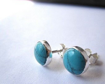 Natural Turquoise Stud Earrings - 8mm