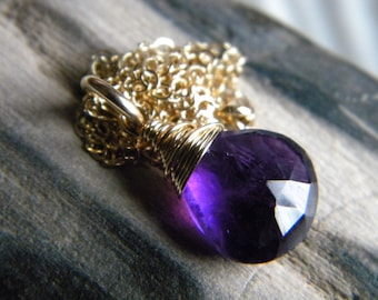 Purple amethyst briolette necklace - February birthstone - 14k yellow gold filled handmade jewelry