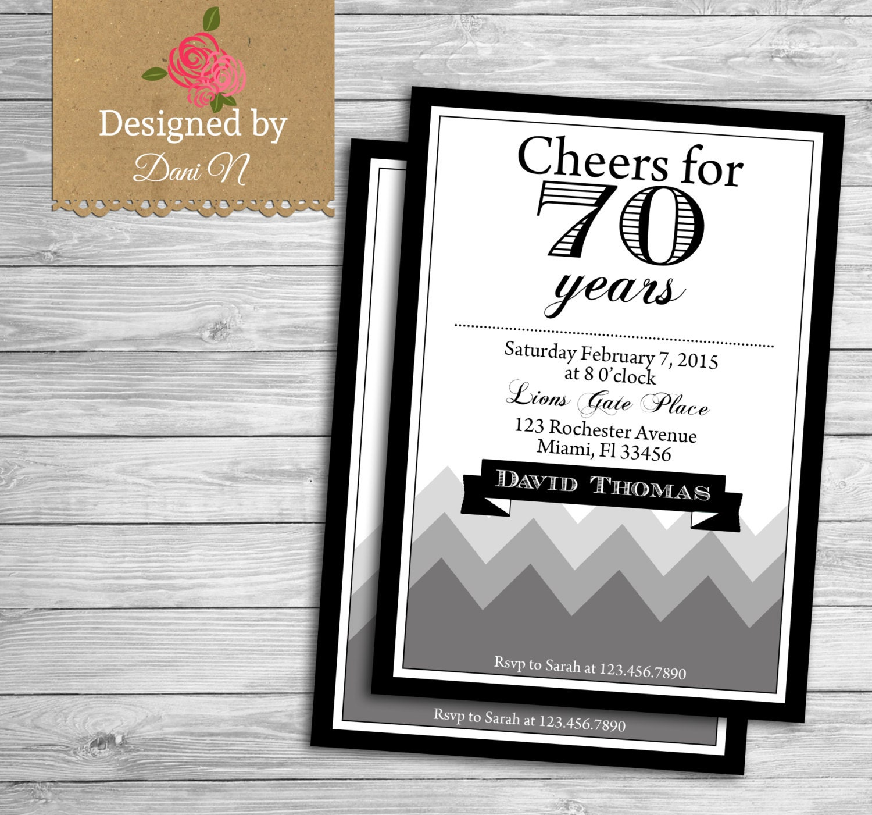 Top adult birthday invitation 70 years birthday 70th 80th CQ06