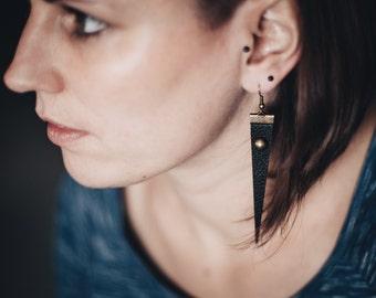 Faux leather Earrings, Vegan Leather Earrings, Triangle earrings, Black earrings, Big earrings, Jewelry, Christmas Gift, Handmade