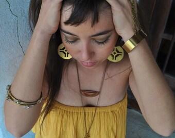 Sun Dial Mandala Metal Earrings