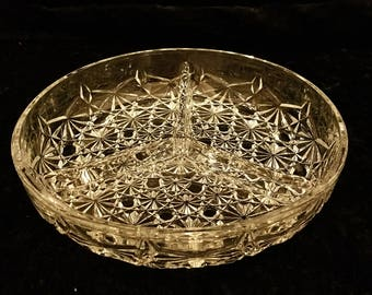 Vintage French Daisy & Button Three Part Divided Relish Dish