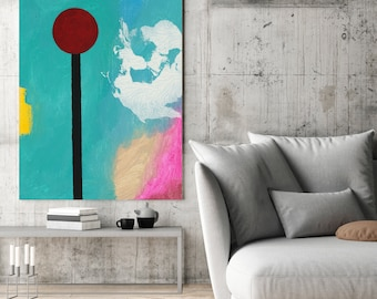 Turquoise abstract painting, extra large wall art, Dandelion acrylic original artwork, 36x48