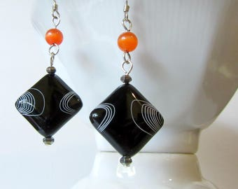 Laster Etched Black Onyx Earrings, Square Onyx Beads, Black Onyx and Orange Cats Eye Earrings, Engraved Onyx Jewelry, Dangly Black Earrings