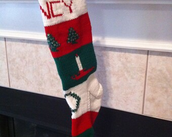 Personalized Handmade Knitted Christmas Stocking *Wool Available* - Trees, Candles & Wreath
