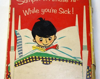 1953 While You Are Sick... Get Well Funny Faces Card