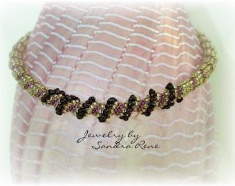 Beadwork Necklace Garnet Beadwoven - Beadweaving Jewelry