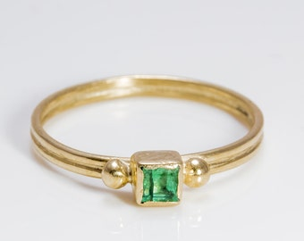 Emerald gold ring - Engagement ring - 9k Gold
