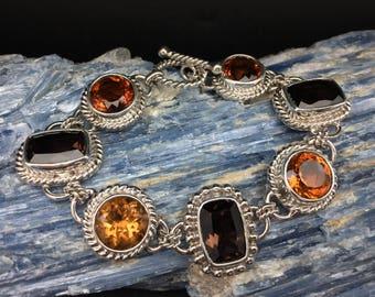 Citrine Smokey Quartz Stone Bracelet // 925 Sterling Silver // 7.5 Inches Length // Toggle Clasp