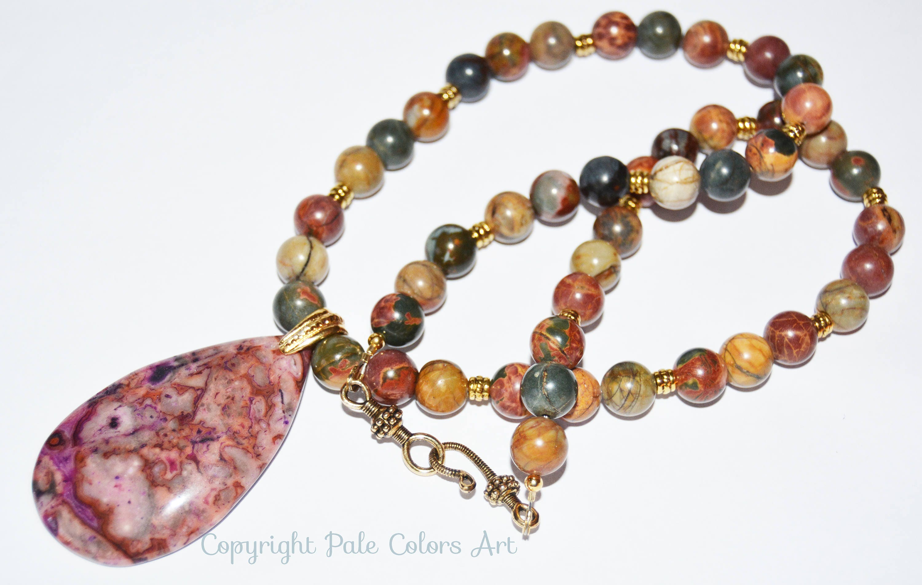 jasper dark pin red wine necklace stone bead