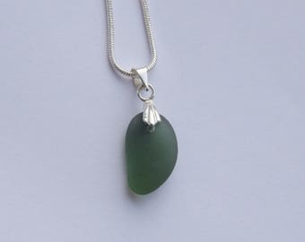 Unique dark green seaglass necklace with silver plated snake chain