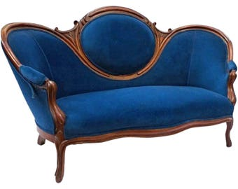 Attractive 19th Century Antique Victorian Sofa Blue Upholstery Loveseat Settee Chaise  Couch