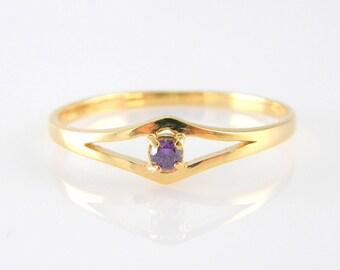 Amethyst gold ring  14k Gold Filled gemstone February birthstone rings women gemstone jewelry engagement rings
