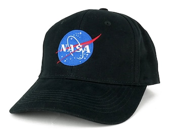 NASA Insignia Logo Embroidered 100% Deluxe Cotton Cap - 2 Colors (6957-blk-insignia-emb)