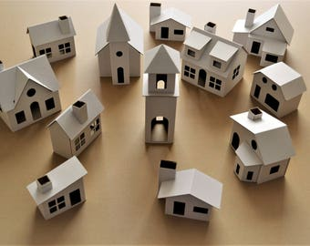 Pack of 12 DIY Putz style glitter houses. Unassembled corrugated cardboard houses. Make your own decorative house vilage