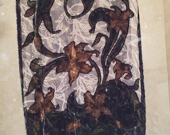 Gold and Brown's burnout velvet table runner/scarf