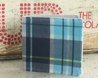Slim Cotton Wallet in Teal blue Plaid Ready to ship Vegan Sustainable Boyfriend gift under 30 dollars for Men women or kids