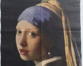 2X napkin art,museum quality Girl with a pearl earring by J. Vermeer for  collectie/decoupage,decoupage under glass,mixed media,s
