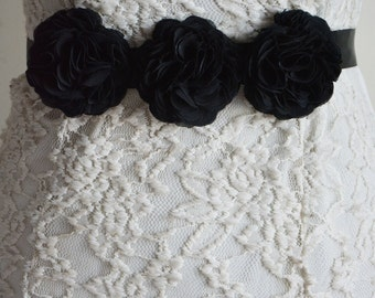 Black Bridal Sash Belt, Wedding, Black Chiffon Flower, Bridal Flower Belt, Dress gown sash, Bridesmaid Belt, Flower Girl, Dress Accessories
