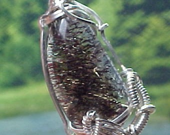 Sacred Seven Agape Crystal Sterling Wire Art Pendant With Super Fine Mineral Inclusions An Out-Pouring Of Unconditional Love lw004