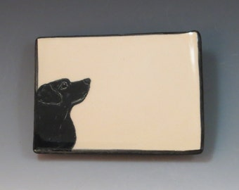 Handbuilt Ceramic Soap Dish with Dog - Black Lab
