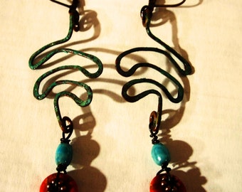 Turquoise and Copper Earrings, Red Turquoise, Hammered Copper, Rustic, Sealed Patina, Sculpture, OOAK, Boho, Southwest, Free Shipping