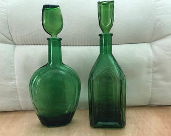 Two Vintage Green Wheaton Reproduction Apothecary Glass Bottles