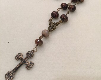 Pearl and Smoky Quartz Wire Wrapped  Prayer Bead Necklace Christian Meditation Prayer Beads  Anglican Rosary   Episcopal Rosary