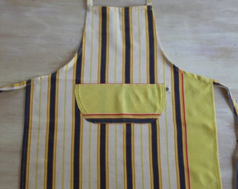 Kikoy Kids Apron in Yellow, Blue and Gold Stripes, Child Medium Apron