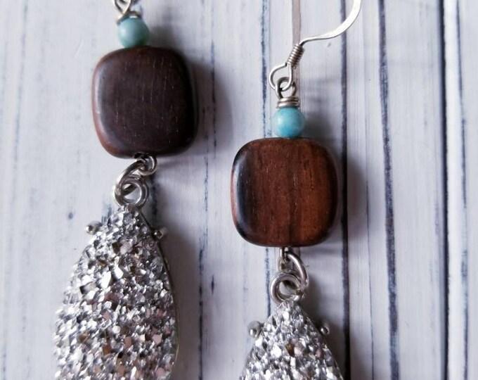 Long boho druzy earrings, dangle boho druzy earrings, boho bead earrings, bohemian earrings, gypsy earrings, gift for her, turquoise earring