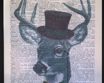 Stag Head Print Vintage Dictionary Print Page Wall Art Picture Grey Tartan Deer Hipster Suit Braces Animals Humanised Hat Quirky Funky