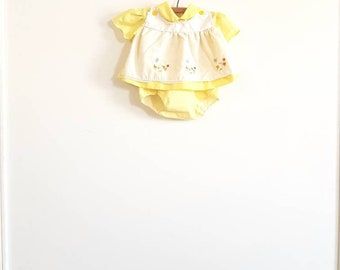 Vintage Yellow Baby Dress with Embroidered Ducks