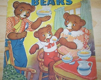 "Vintage 1938 Merrill Publishing Co. ""The Three Bears""  ""Linen Like"" Children's Book"