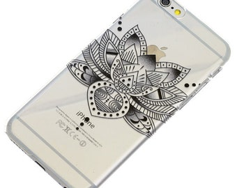 Last One, 2 Piece Case, Lotus Flower, Black Ink,  Transparent Clear Phone Case fits iPhone 6 or iPhone 6s Only, Last 2 Piece Case