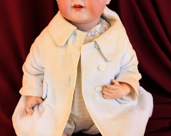 "16"" Antique Simon & Halbig Bisque head Charector baby  127 / 36 , blue gass eyes,  teeth,  Beautiful Baby ! Adorable romper and coat"