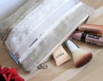Kit Bohemian Ecru linen, boho makeup bag gift wife MOM